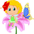 Cartoon baby fairy elf sitting on flower illustration of Stock Photography
