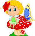 Cartoon baby fairy elf sitting on mushroom illustration of Royalty Free Stock Image