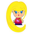 Cartoon baby girl.  blondy kid Royalty Free Stock Photos