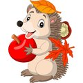 Cartoon baby hedgehog with red apple, autumn leaves and mushroom Royalty Free Stock Photo