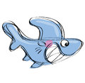 Cartoon baby shark in a naif childish drawing style with huge smile Royalty Free Stock Photos