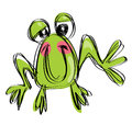 Cartoon baby smiling frog in a naif childish drawing style funny posing and Royalty Free Stock Images