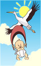 Cartoon baby and stork Royalty Free Stock Images