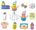 Cartoon baby thing icon set Royalty Free Stock Photos