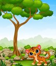 Cartoon baby tiger in the jungle