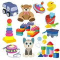 Cartoon baby toy set. Cute object for small children to play with, toys, stuffed animals, fun and activity. Vector flat