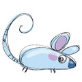 Cartoon baby vector mouse in a naif childish drawing style with funny tail Royalty Free Stock Image