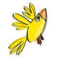Cartoon baby yellow bird in a naif childish drawing style flying Stock Images