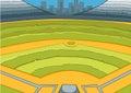 Cartoon background of baseball stadium.