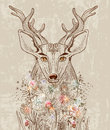 Cartoon background with deer and flowers hand drawn beautiful illustration Stock Image