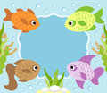 Cartoon background with fish card Royalty Free Stock Photo