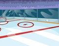Cartoon background of ice hockey rink.