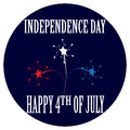 Cartoon badge for the Independence Day 4th of July