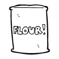 Cartoon bag of flour black and white line in retro style vector available Stock Photos