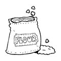 Cartoon bag of flour black and white line in retro style vector available Royalty Free Stock Photos