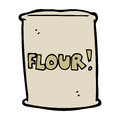 Cartoon bag of flour hand drawn illustration in retro style vector available Stock Images