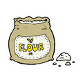 Cartoon bag of flour hand drawn illustration in retro style vector available Royalty Free Stock Images