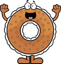 Cartoon bagel happy illustration of a cream cheese filled with a expression Royalty Free Stock Image