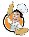 Cartoon baker button Stock Image
