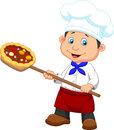 Cartoon a baker with pizza illustration of Stock Image