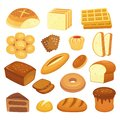 Cartoon bakery products. Toast bread, french roll and breakfast bagel. Whole grain breads, sweet bun and loaf vector Royalty Free Stock Photo