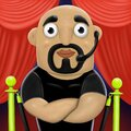Cartoon bald bodyguard with beard and black t-shirt, illustration Royalty Free Stock Photo