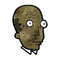 Cartoon bald man staring retro with texture isolated on white Royalty Free Stock Photo