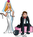 Cartoon Ball and chain. Just married Royalty Free Stock Images
