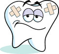 Cartoon bandaged tooth illustration of a with bandages Royalty Free Stock Image