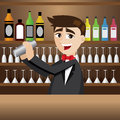 Cartoon bartender with shaker at bar illustration of Stock Photography