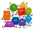 Cartoon Basic Geometric Shapes Characters Royalty Free Stock Photo