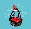 Cartoon basket with red berries an winter bullfinch on it.