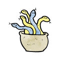 Cartoon basket of snakes Royalty Free Stock Images