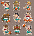 Cartoon basketball player stickers Stock Photos