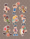 Cartoon basketball player stickers Royalty Free Stock Image