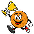 Cartoon Basketball Running with Trophy Royalty Free Stock Photo
