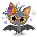 Cartoon Bat with flowers Isolated on a White Background Royalty Free Stock Photo