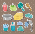 Cartoon Bathroom Equipment  stickers Royalty Free Stock Image