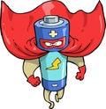 Cartoon battery superhero