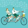Cartoon Bavarian pair cyclist with beer