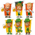 Cartoon bavarians and leprechaun with beer character vector set