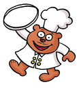 A cartoon bear chef is carrying an empty tray Stock Photography
