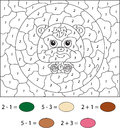 Cartoon bear. Color by number educational game for kids. Vector