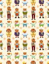 Cartoon bear family icon set seamless pattern Royalty Free Stock Photos