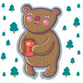 Cartoon bear with honey pot Royalty Free Stock Photography