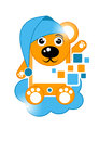 Cartoon bear with mobil theme illustration Stock Photography