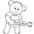 Cartoon bear playing guitar black white Royalty Free Stock Photo