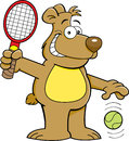 Cartoon bear playing tennis Royalty Free Stock Photography
