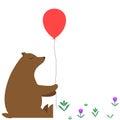 Cartoon bear with a red balloon