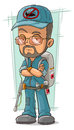 Cartoon bearded exterminator in blue uniform